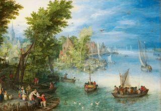 """Zdjęcie obrazu Jana Brueghela Starszego: """"Wiejska ulica z początków XVII wieku"""""""
